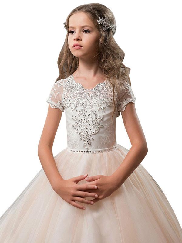 Blumenmädchen Kleider Rosa Abendkleider Für Hochzeit Tüll