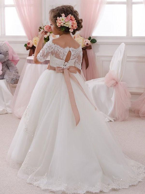 Blumenmädchen Kleider Weiß Abendkleider Für Hochzeit Tüll