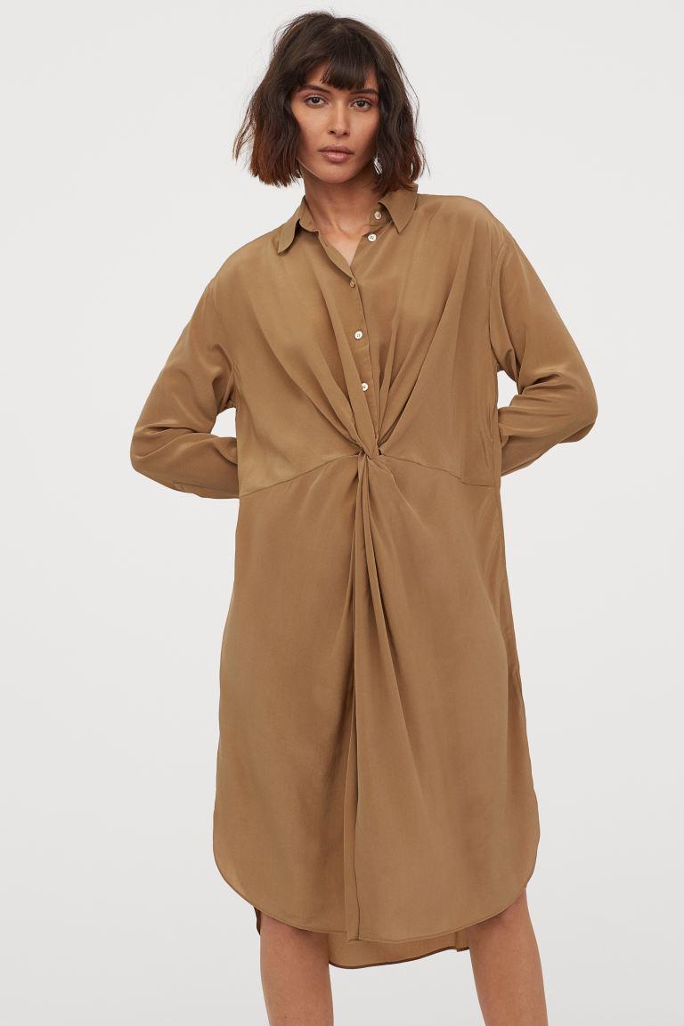 Blusenkleid Aus Seide  Khakibeige  Ladies  Hm De In