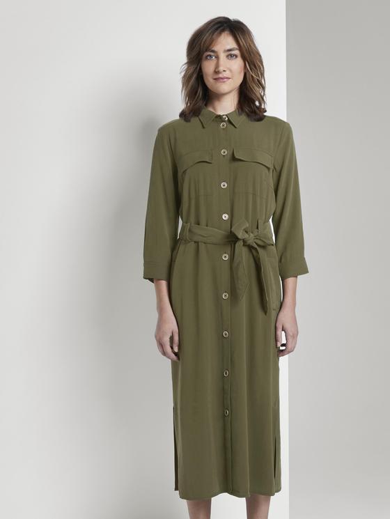 Blusenkleid Mit Bindegürtel In Midilänge Grün  Von Tom