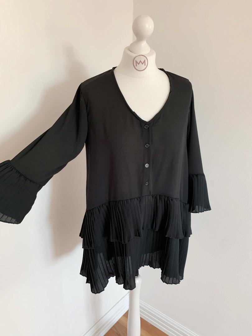 Blusenkleid Plissee Schwarz