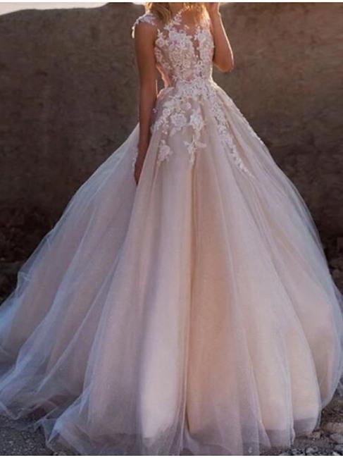 Blush Rosa Brautkleider A Linie  Vintage Hochzeitskleid