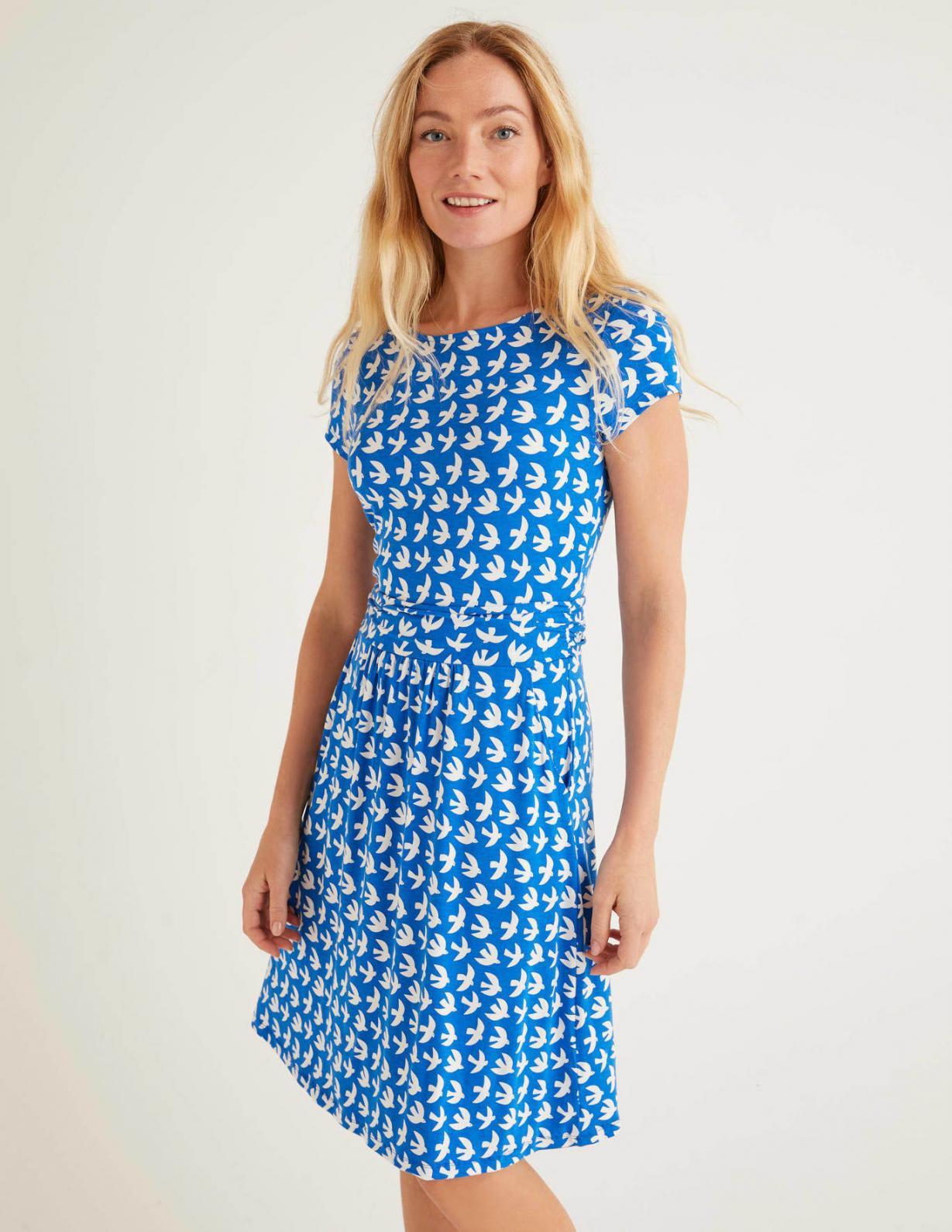 Boden Amelie Jerseykleid Kräftiges Blau Schwalben  Damen
