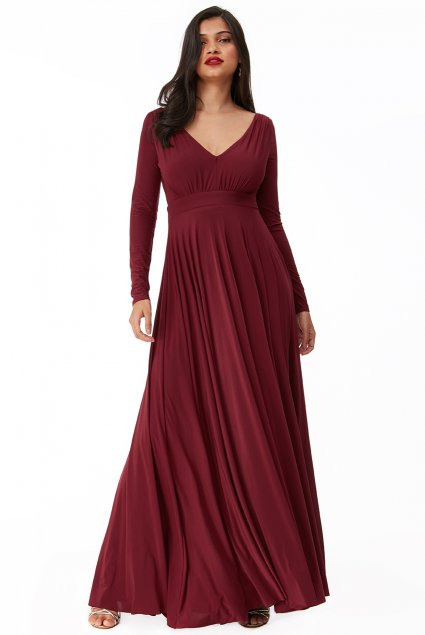 Bodenlanges Kleid  Helena  Burgund  Affingosde