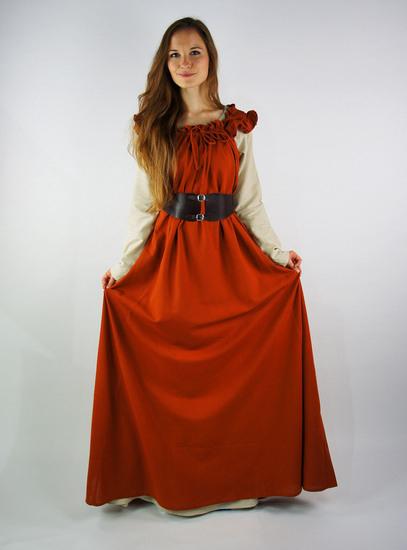 """Bodenlanges Kleid Mit Schulterrüsche """"Clara"""" Rost 5799"""