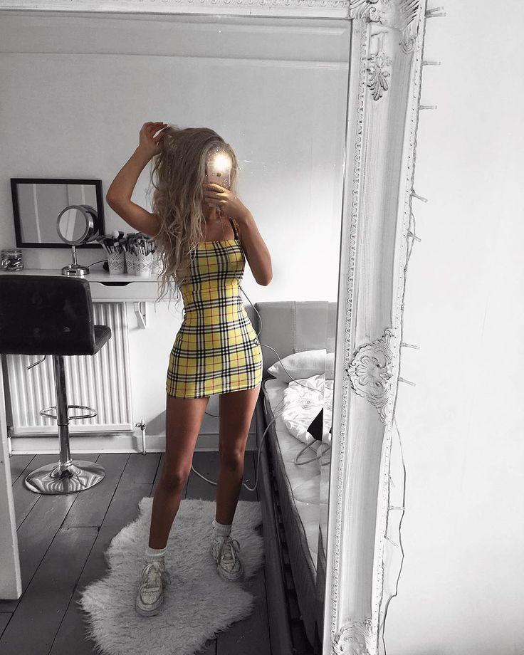 Bodycon Yellow Check Mini Dress  Selah  Motel Rocks