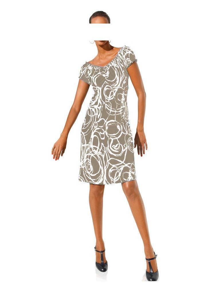 Bodyformingkleid Beigeweiß  Kleider  Outlet Modeshop