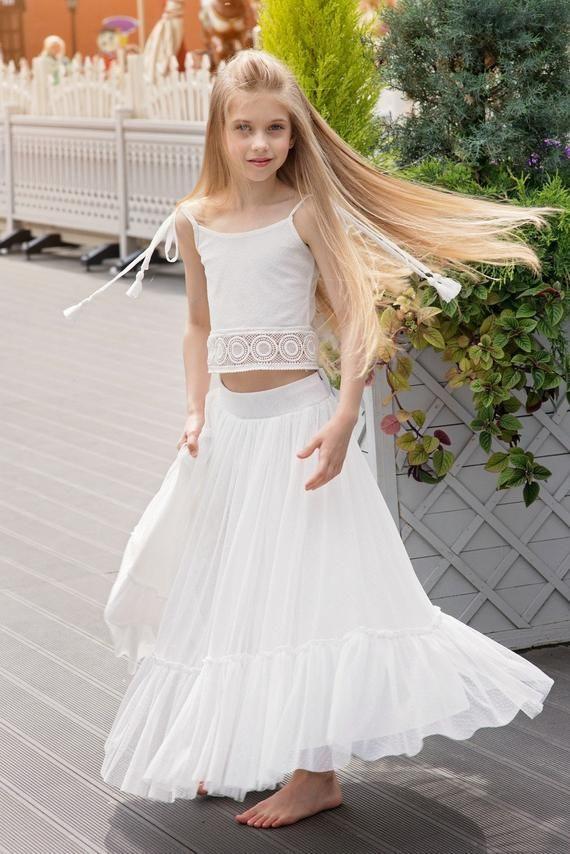 Boho Blumenmädchenkleid Junior Brautjungfernkleid Rock