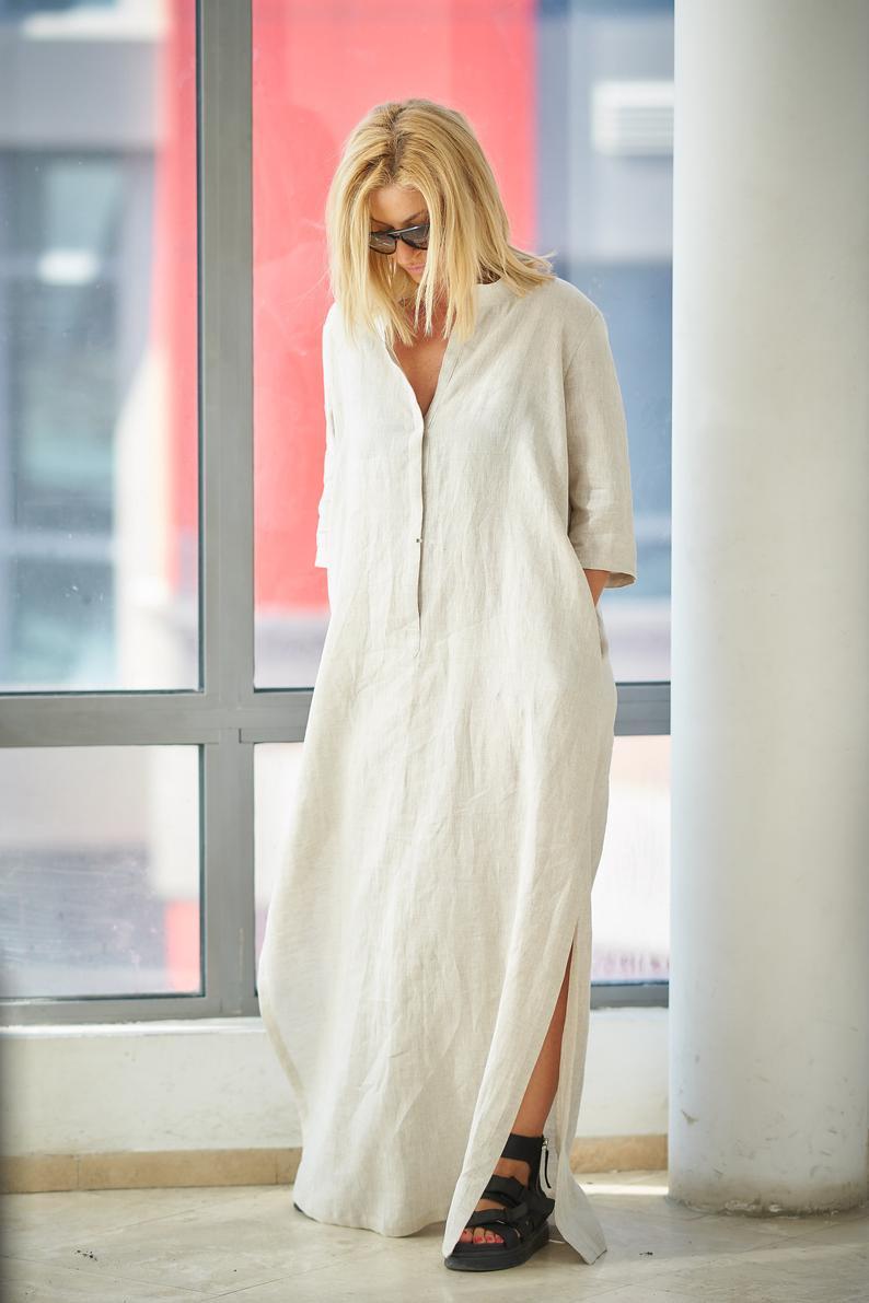 Boho Brautkleid Weißel Leinen Kleid Leinen Kleidung Frauen