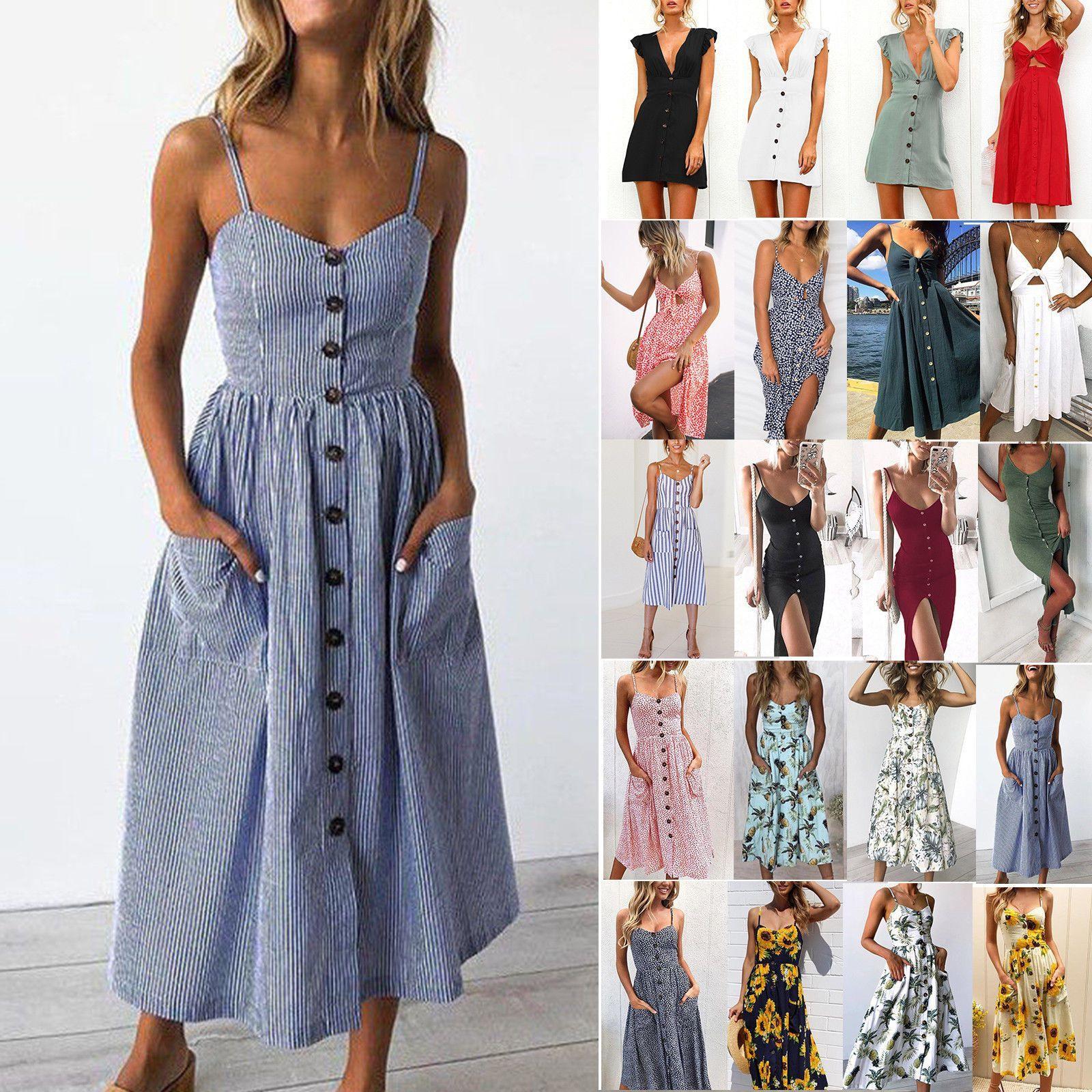 Boho Damen Sommerkleid Urlaub Knopf Tasche Strandkleid