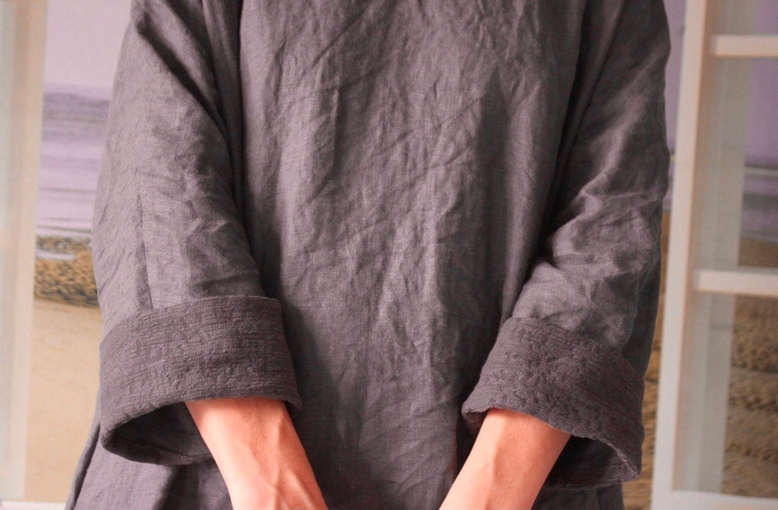 Boho Englisch Leinen Kleid Kaffee Farbe Khaki Farbe