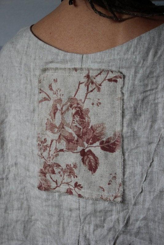 Boho Englisch Leinen Kleid Natürliche Farbe Und Kaffee