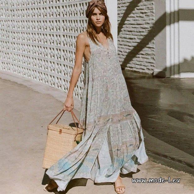 Boho Floral Strand Vintage Sommer Maxikleid In 2020  Maxi