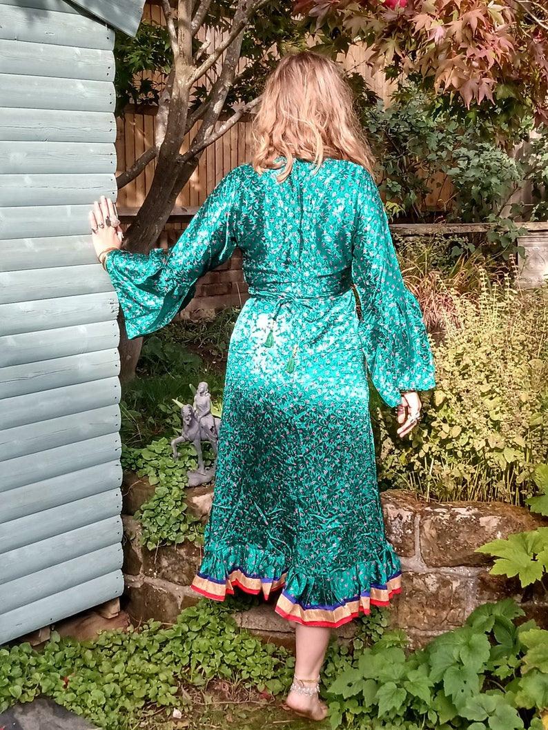 Boho Hippie Festival Sari Kleid Folklore Kleid Wickeln Um