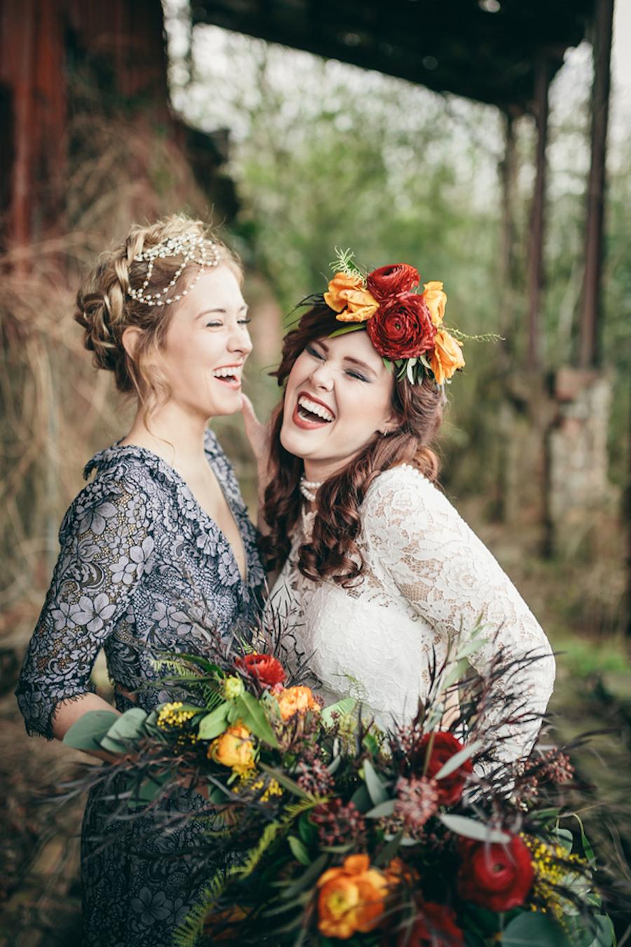 Boho Hochzeit Im Herbst  Hochzeitsinspiration Mit Blumenkrone