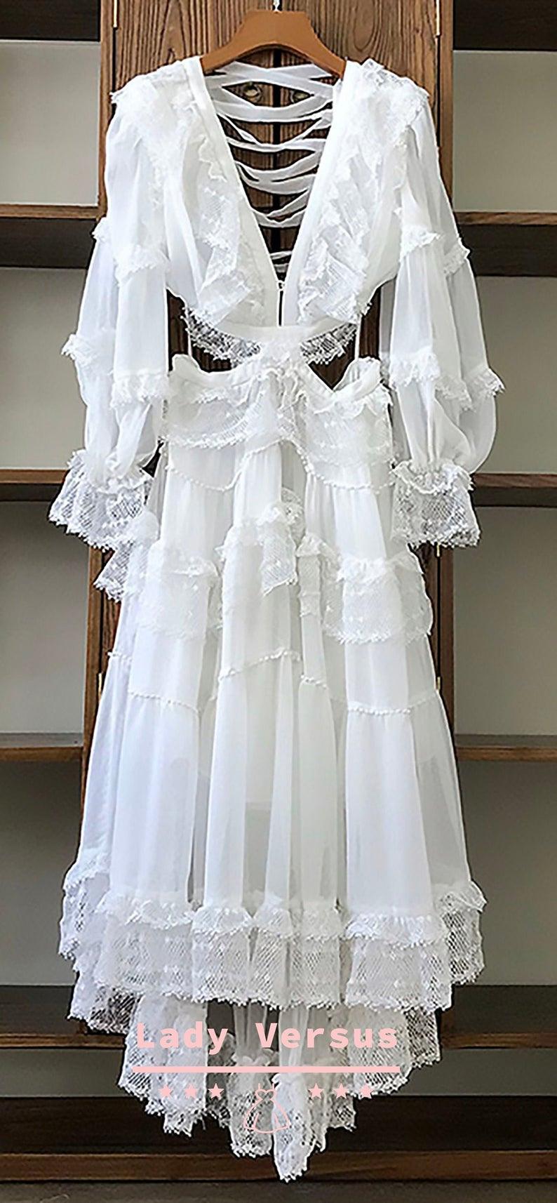 Boho Hochzeit Weiß Kleid / Kleid Für Fotoshooting