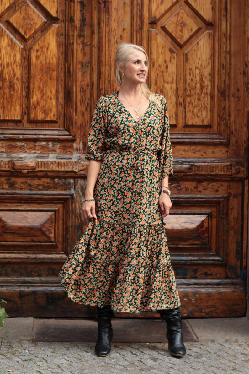 Boho Kleid Blumen Langarm Hippie Chic Blumenkleid Bohemian
