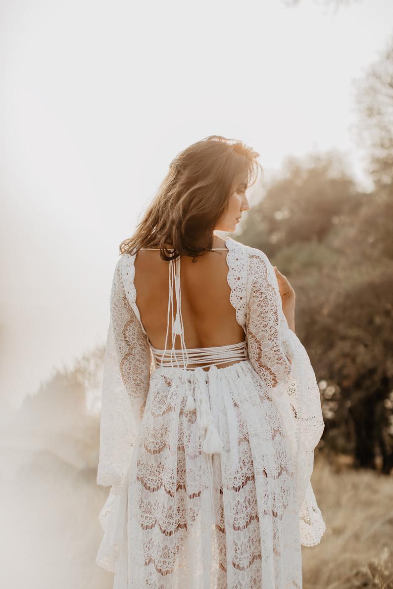Boho Kleid Weißes Kleidschwangerschaft Kleid Maxikleid