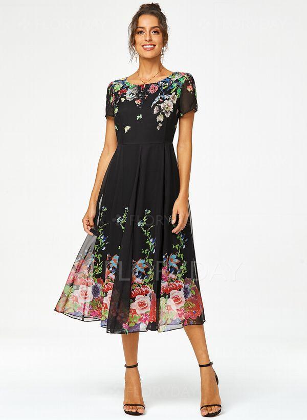 Boho Kurze Ärmel Blumen Midi Kleider  Floryday