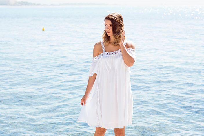 Boho Look Weißes Sommerkleid Mit Spitze  Weißes