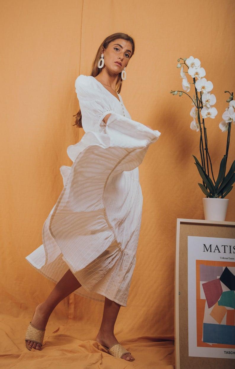 Boho Maxi Kleid/Boho Brautkleid/Weiß Maxi Sommerkleid