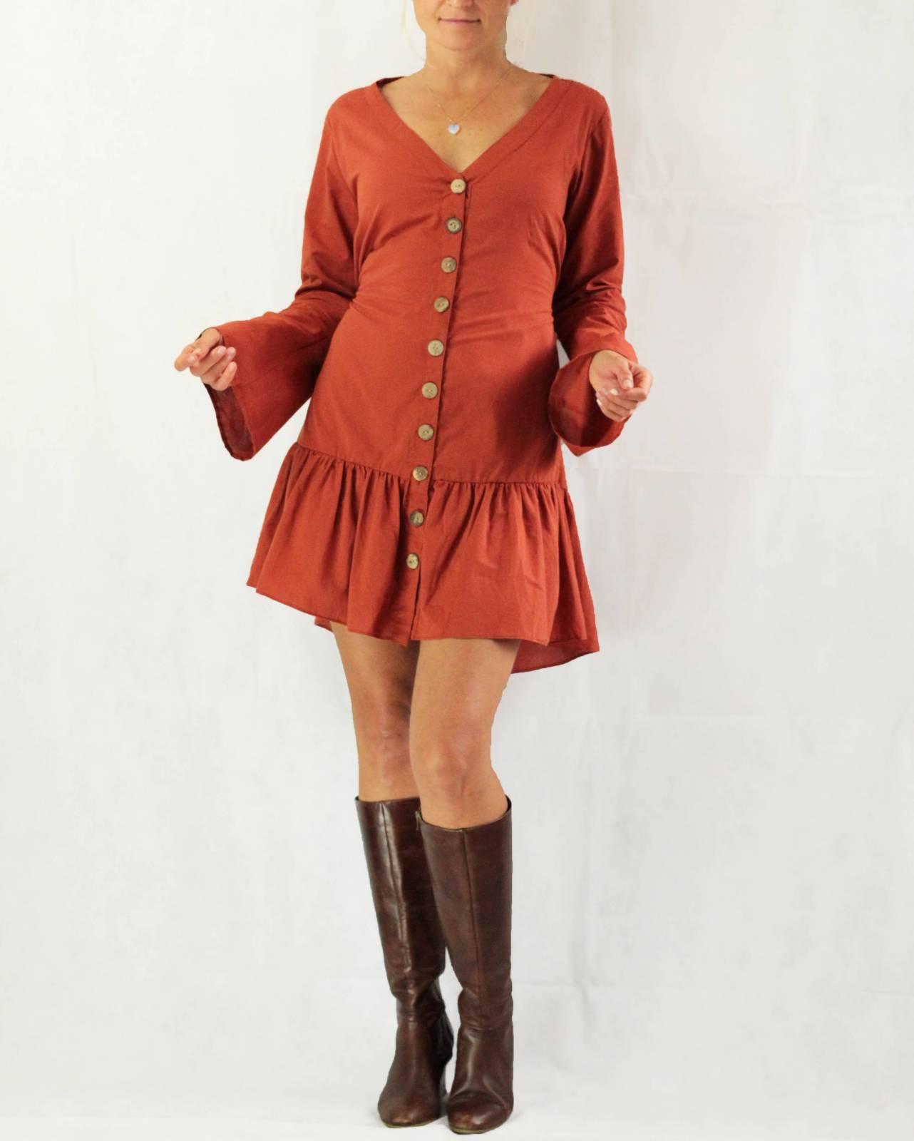 Boho Minikleid Baumwolle  Langarm Tunika Kleid