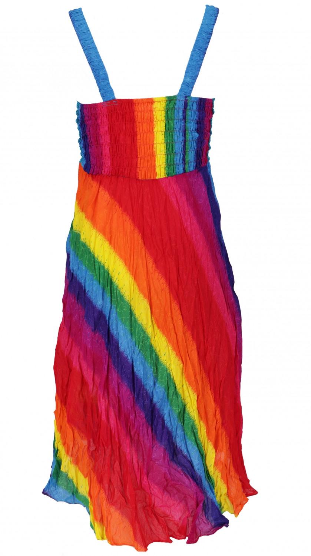 Boho Minikleid Sommerkleid Krinkelkleid  Regenbogen/Blau