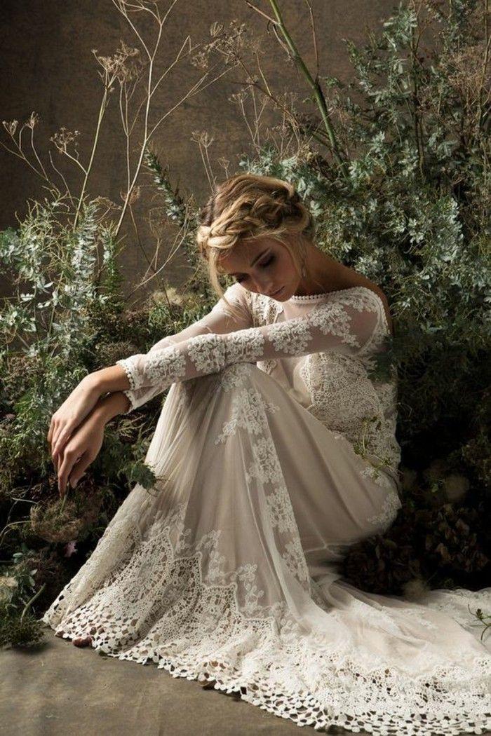 Boho Stil Sommerhochzeit Brautkleid Spitze  Kleider