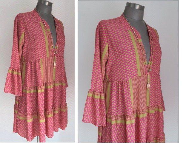 Boho Tunika Kleid Im Navajo Pali Ikat Print Hier In Pink