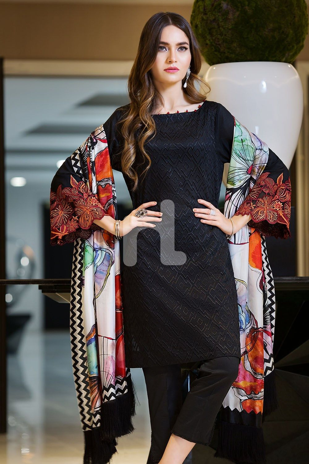 Bold And Magnificent Black Colored Three Piece Unstitched