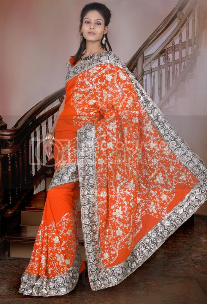 Bollywood Indien Braut Hochzeits Stickerei Sari Saree