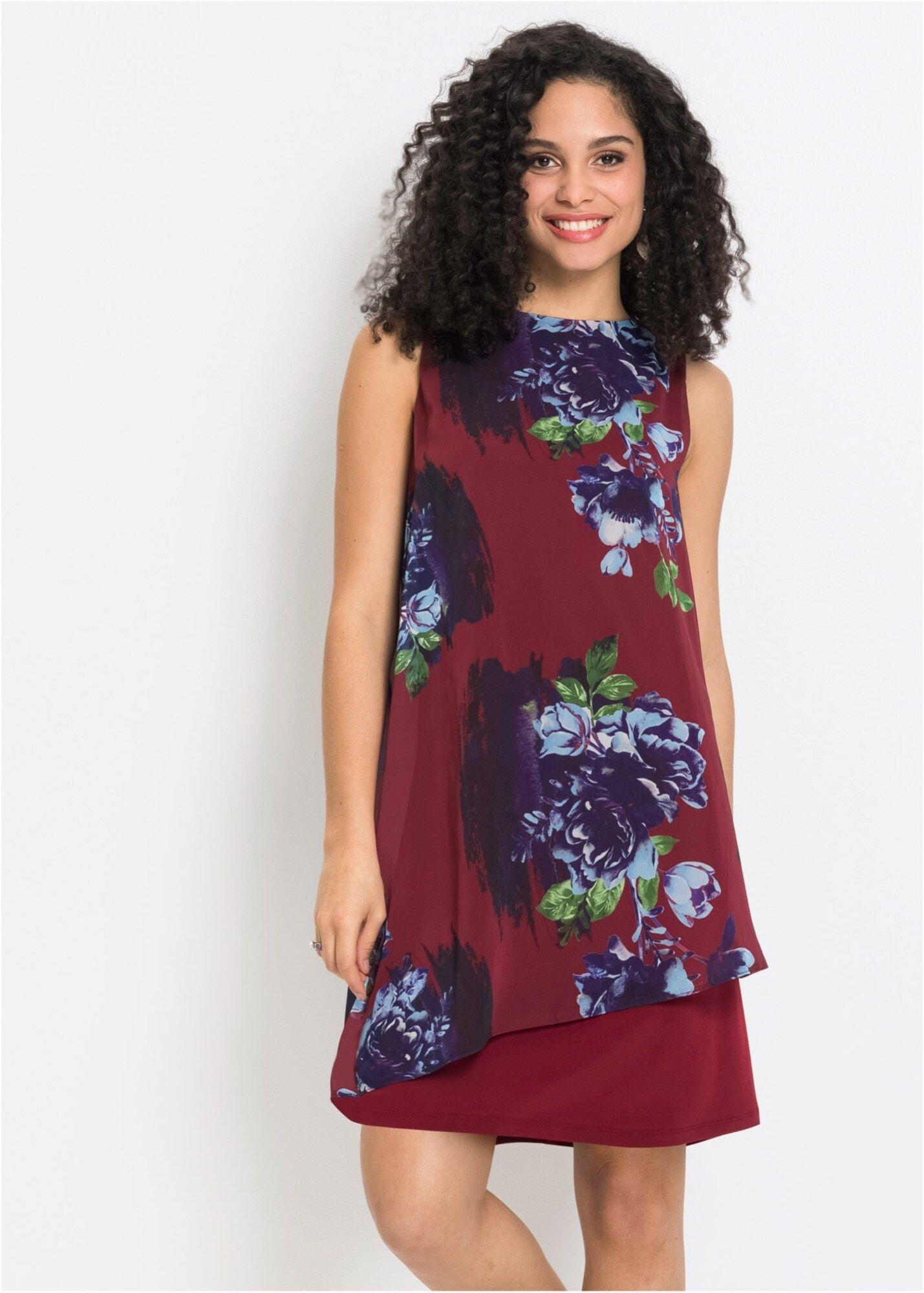 Bonprix Jerseykleid Mit Chiffon Damen Blau / Rot Größe