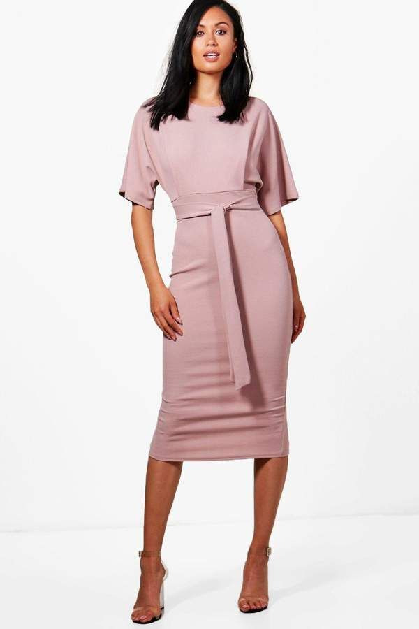 Boohoo Roisin Tie Waist Formal Wiggle Midi Dress  Dresses