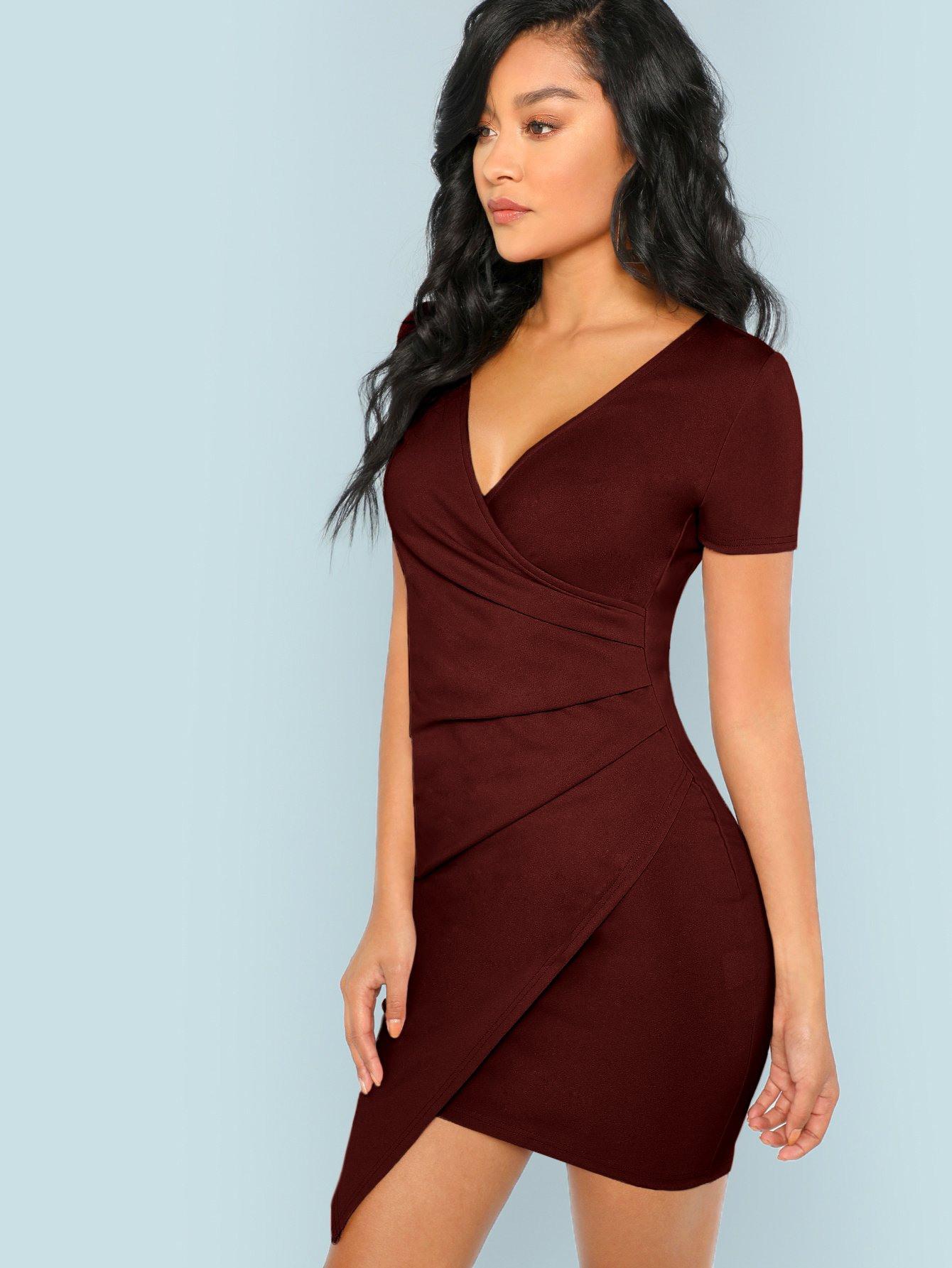 Bordeaux Asymmetrisch Einfarbig Elegant Kleider  Shein