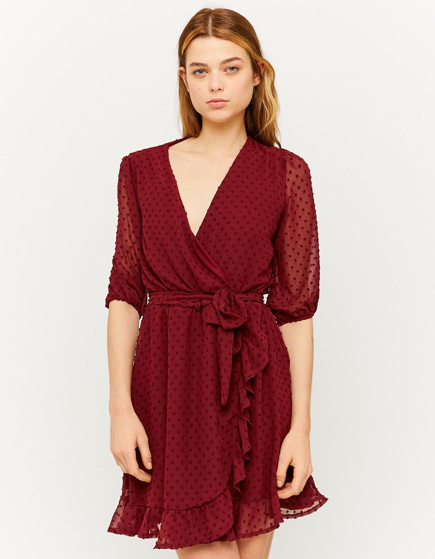 Bordeauxrotes Kleid Mit Cachcœurausschnitt  Tally Weijl