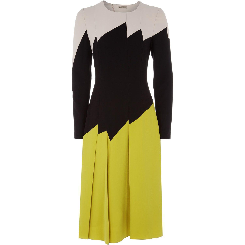 Bottega Veneta Multicolour Black Patternn Pleated Dress
