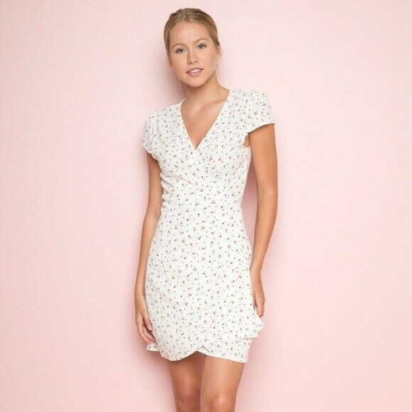 Brandy Melville White/Pink Floral Robbie Wrap Dress Os One
