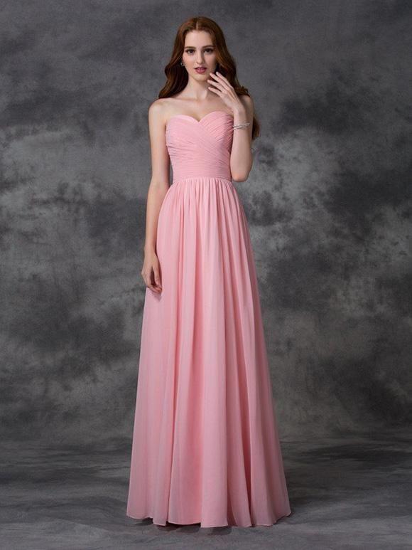 Brautjungfernkleider Bodenlang Rosa Alinie/Princessl