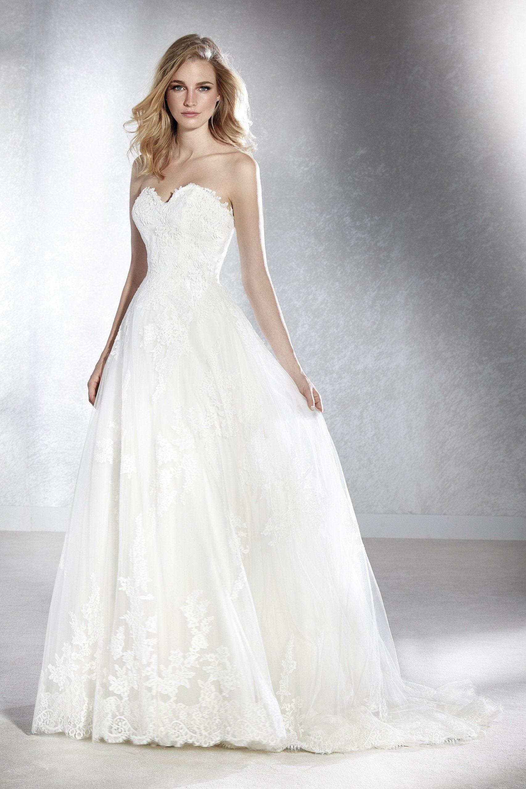 Brautkleid Corsagenkleid Alinie Spitze White One  Kleid