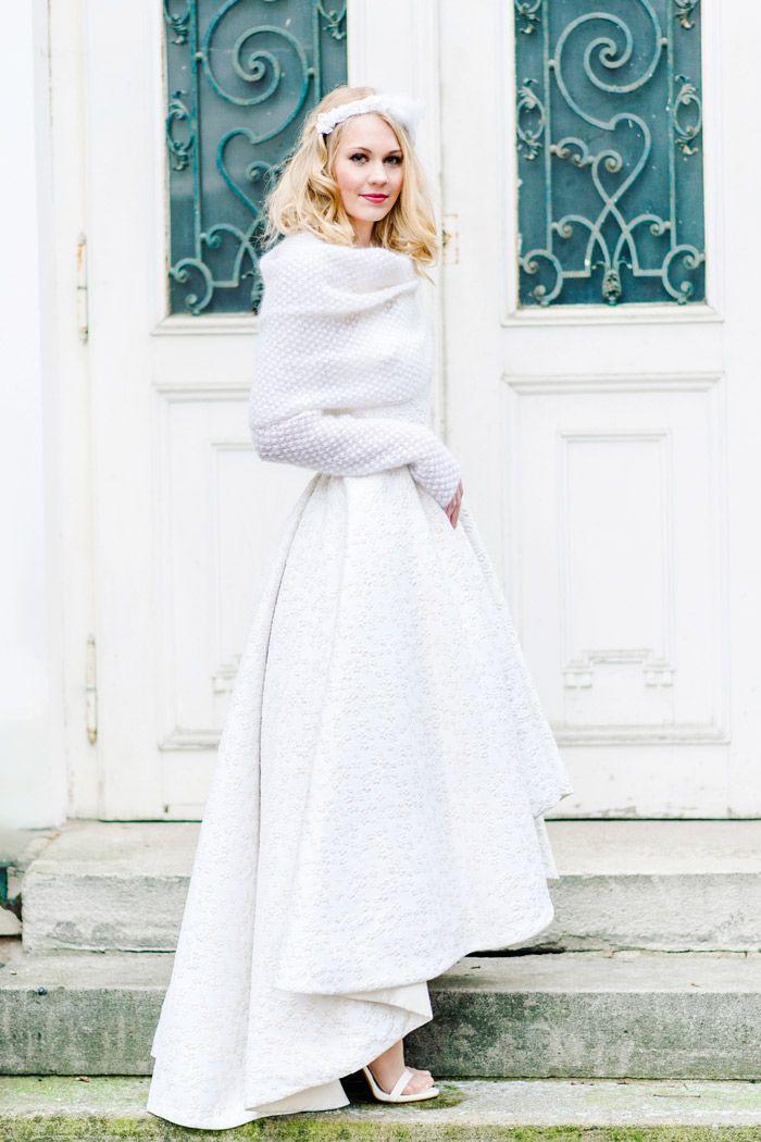 Brautkleid Mit Strickbolero  Hochzeit Jacke Braut