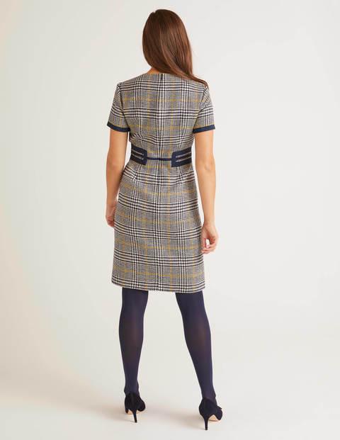 Bridget Tweedkleid  Navy/Safrangelb Kariert  Boden De