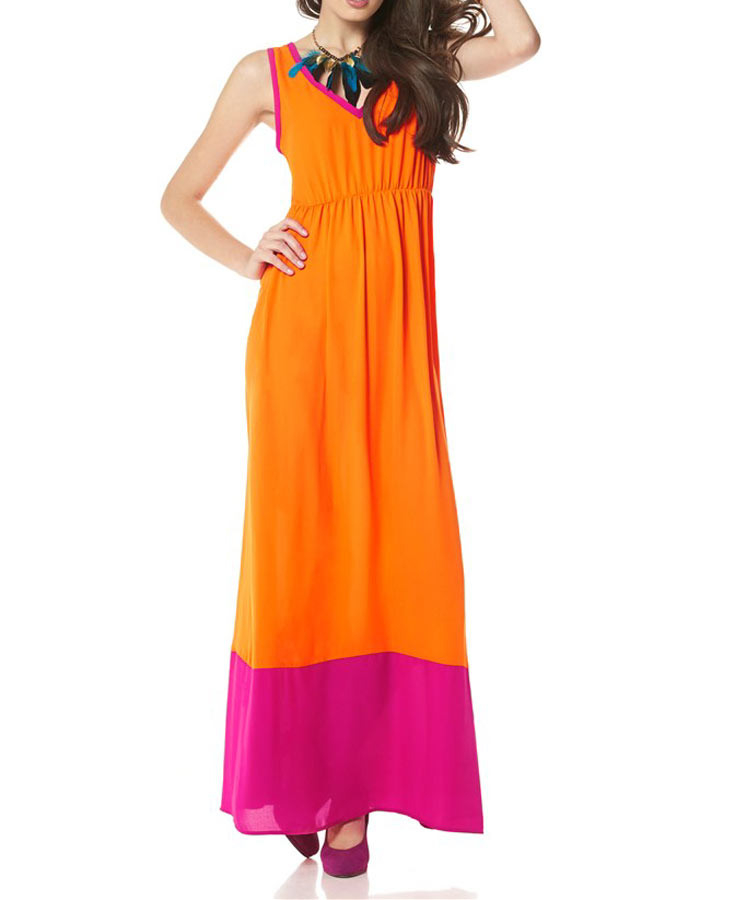 Buffalo Damen Markenmaxikleid Orangepink  Ebay