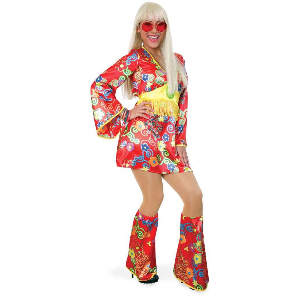 Buntes Hippiekleid Kostüm Mit Stulpen