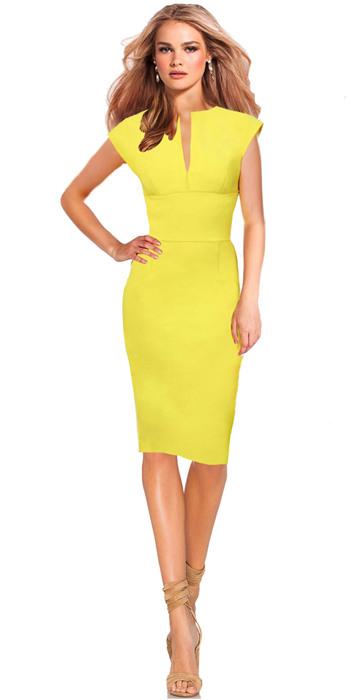 Business Kleid Etuikleid Keira  Gelb  Drezz2Imprezz