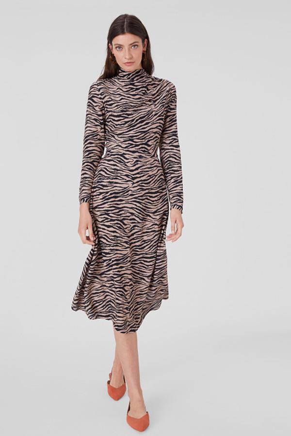 Ca Fit  Flare Kleid Mit Wasserfallausschnittanimal