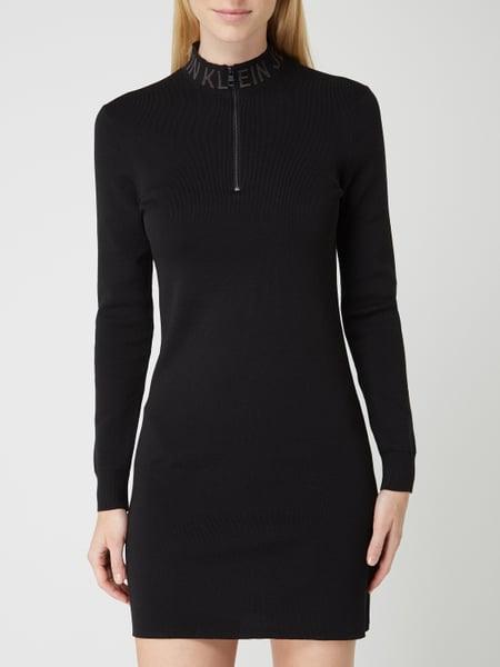 Calvin Klein Jeans Kleid Mit Stehkragen In Grau / Schwarz