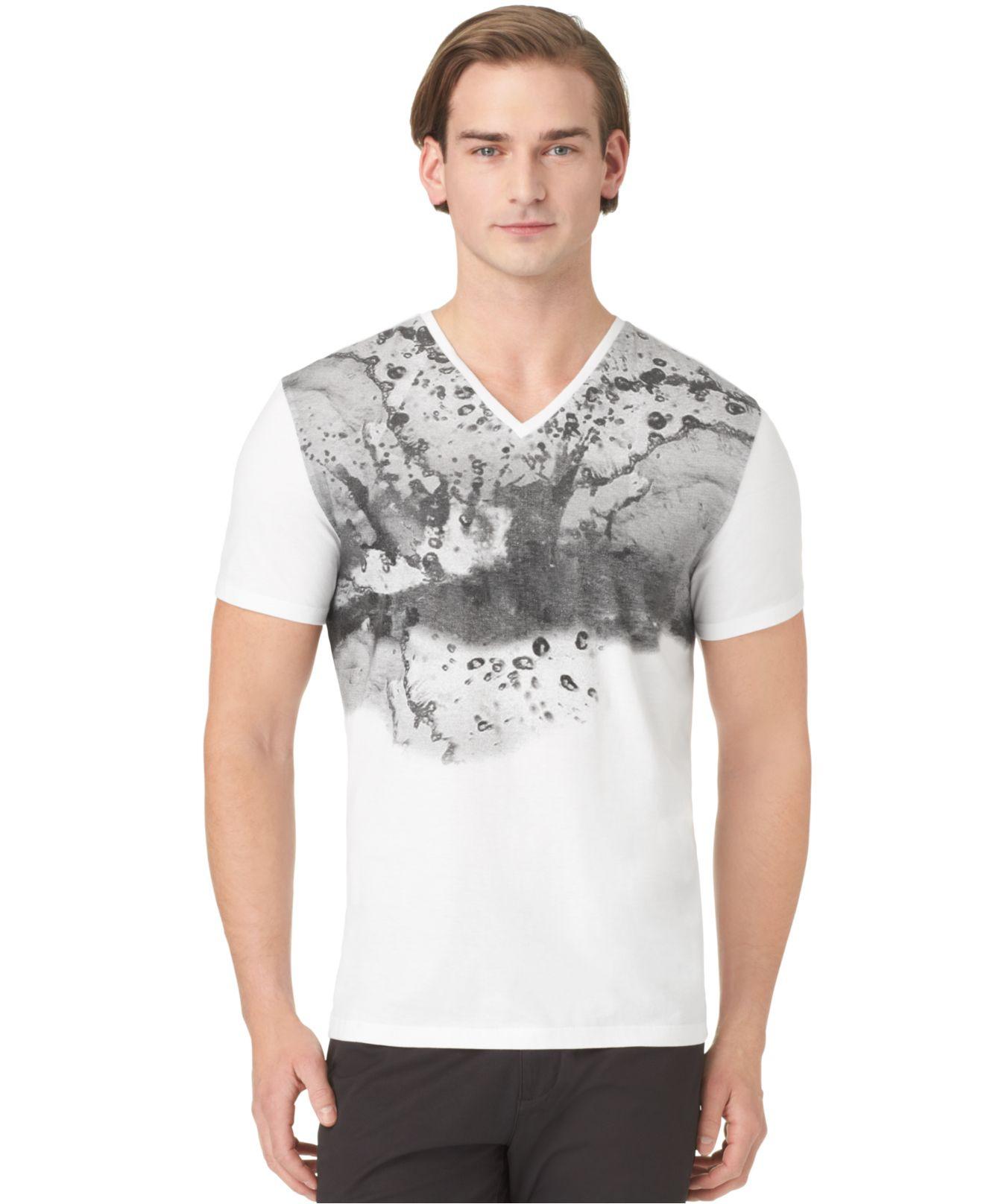 Calvin Klein Water Drop Graphic Slimfit Vneck Tshirt In