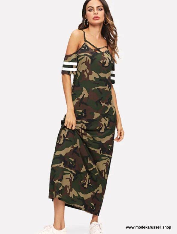 Camouflage Maxikleid Sommerkleid 2019  Kleider Für