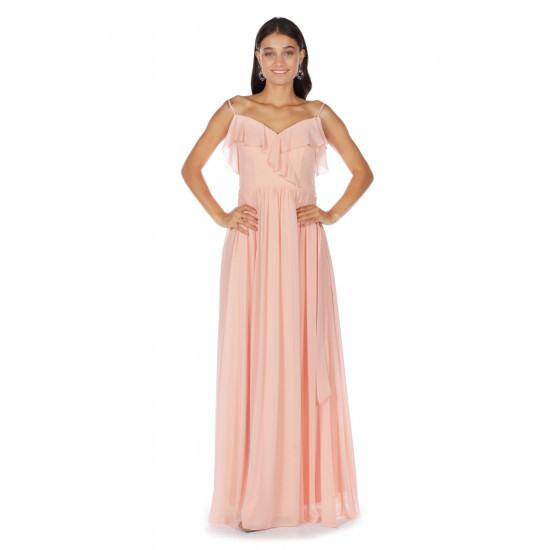 Carmen Langes Fuchsia Kleid Mit Trägern Und Schulterdetails