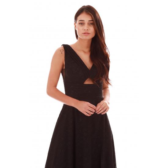 Carmen Langes Schwarzes Kleid Mit Schwarzen Muster Und